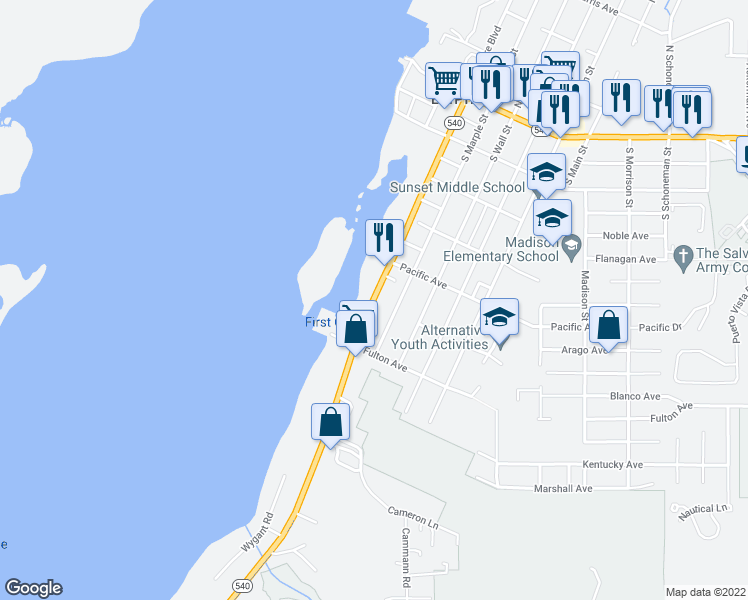 map of restaurants, bars, coffee shops, grocery stores, and more near 555 South Empire Boulevard in Coos Bay