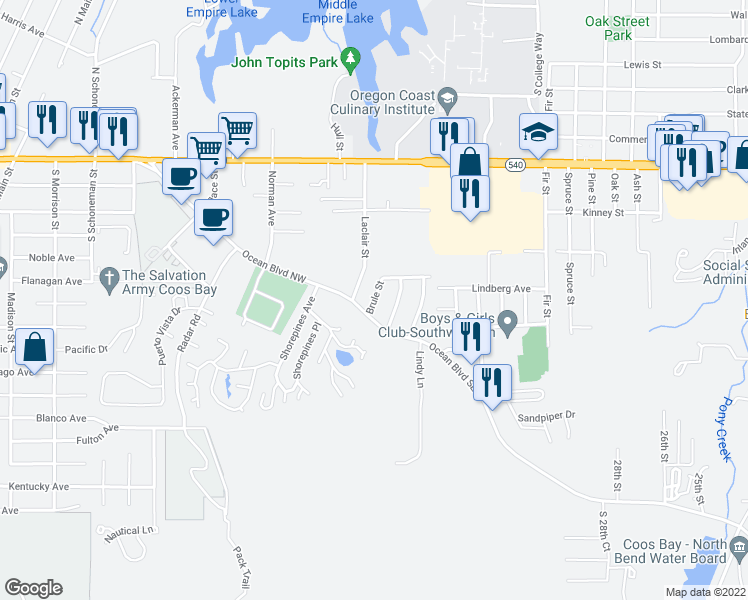 map of restaurants, bars, coffee shops, grocery stores, and more near Brule Street in Coos Bay