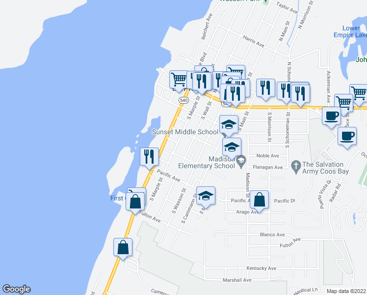 map of restaurants, bars, coffee shops, grocery stores, and more near 358 South Wall Street in Coos Bay
