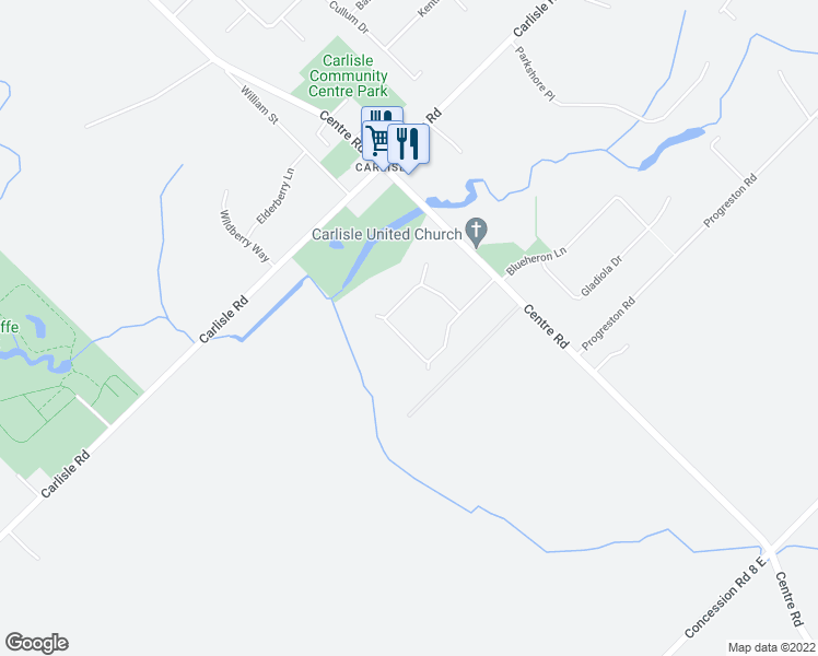 map of restaurants, bars, coffee shops, grocery stores, and more near 32 Meander Close in Hamilton