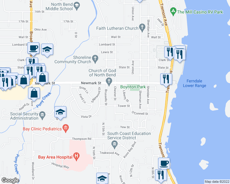 map of restaurants, bars, coffee shops, grocery stores, and more near 3516 Chester Street in North Bend