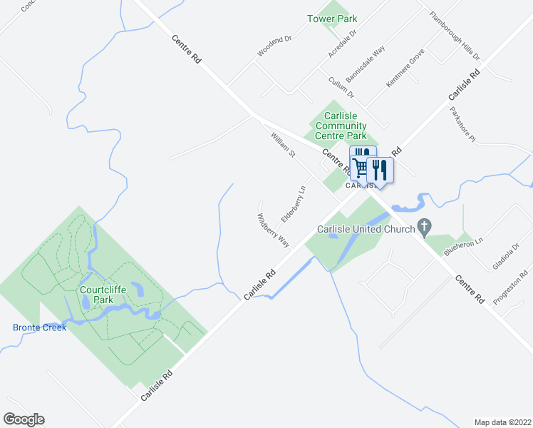 map of restaurants, bars, coffee shops, grocery stores, and more near 14 Wildberry Way in Hamilton