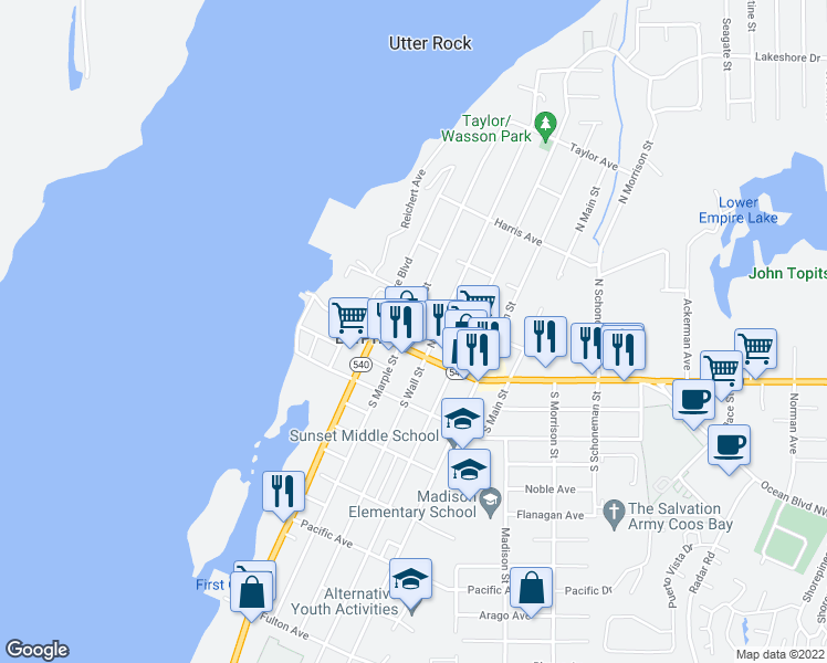 map of restaurants, bars, coffee shops, grocery stores, and more near 135 North Marple Street in Coos Bay