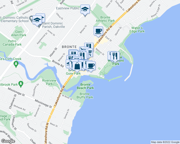 map of restaurants, bars, coffee shops, grocery stores, and more near 11 Bronte Road in Oakville