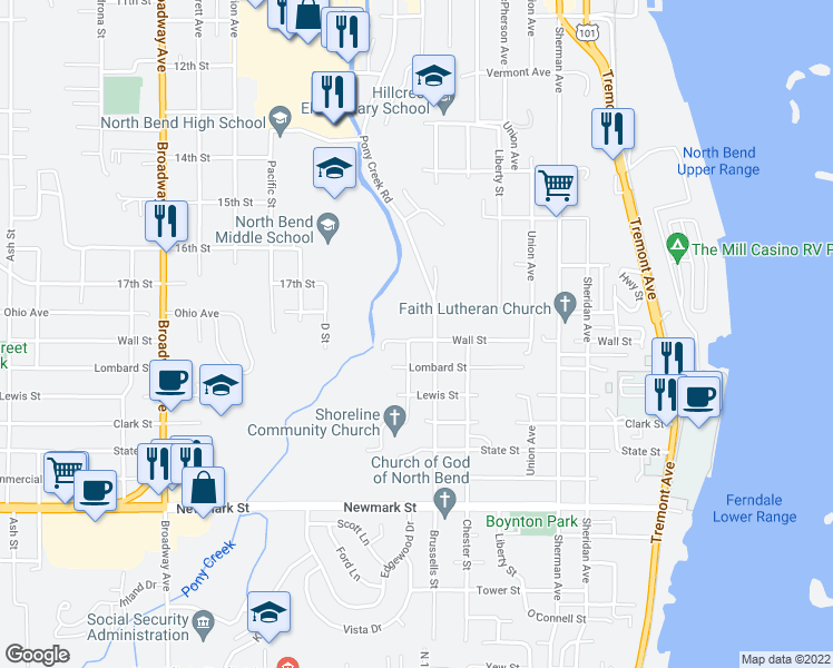 map of restaurants, bars, coffee shops, grocery stores, and more near 2795 A Street in North Bend