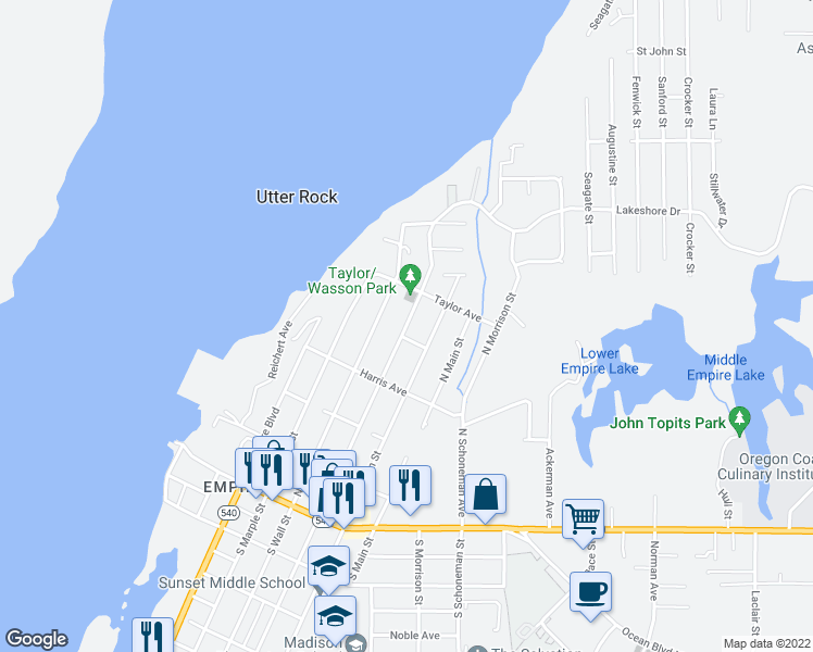 map of restaurants, bars, coffee shops, grocery stores, and more near 545 North Wasson Street in Coos Bay