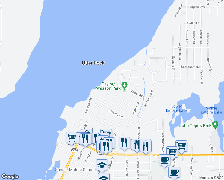 map of restaurants, bars, coffee shops, grocery stores, and more near 549 North Marple Street in Coos Bay