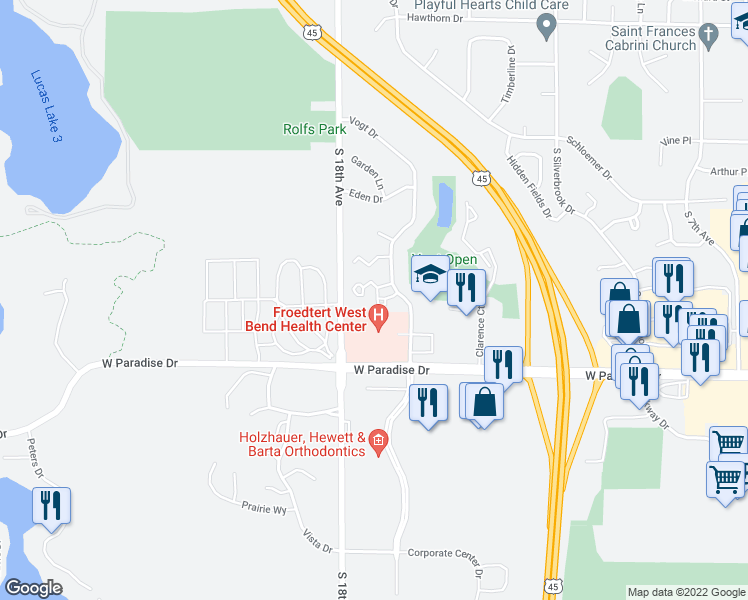 map of restaurants, bars, coffee shops, grocery stores, and more near 1600 Vogt Drive in West Bend