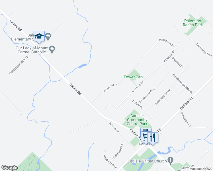 map of restaurants, bars, coffee shops, grocery stores, and more near 19 Woodend Drive in Hamilton