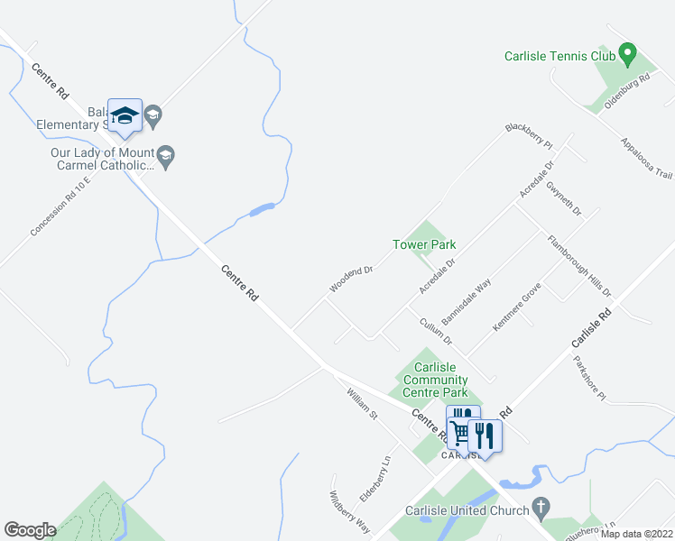 map of restaurants, bars, coffee shops, grocery stores, and more near 23 Woodend Drive in Hamilton