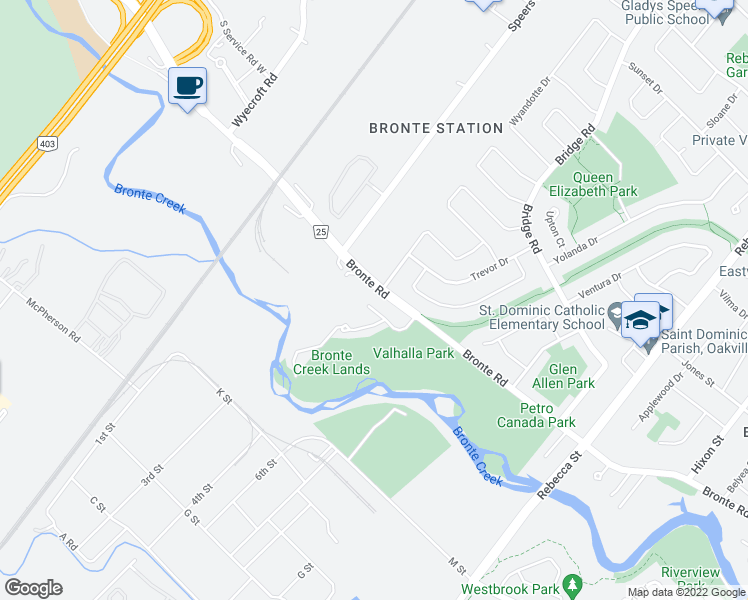 map of restaurants, bars, coffee shops, grocery stores, and more near 487 Valhalla Court in Oakville
