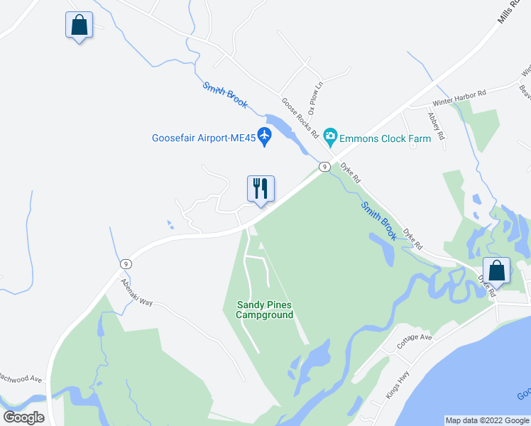 map of restaurants, bars, coffee shops, grocery stores, and more near 272 Mills Road in Kennebunkport