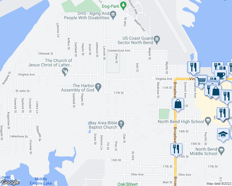 map of restaurants, bars, coffee shops, grocery stores, and more near 2120 Pine Street in North Bend