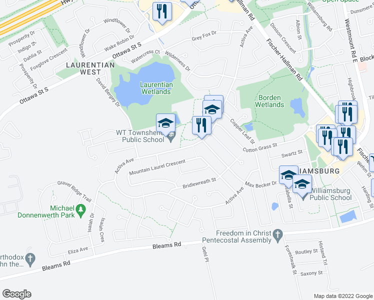 map of restaurants, bars, coffee shops, grocery stores, and more near 78 Mountain Laurel Crescent in Kitchener