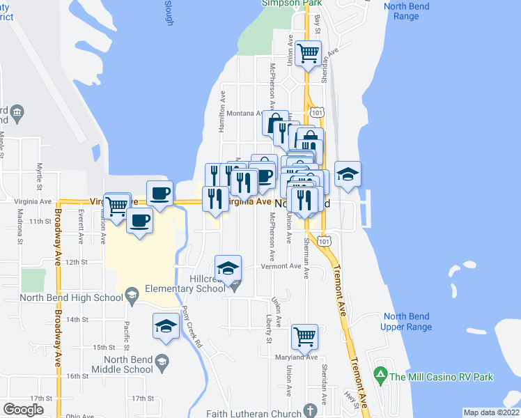map of restaurants, bars, coffee shops, grocery stores, and more near 2021 Meade Avenue in North Bend