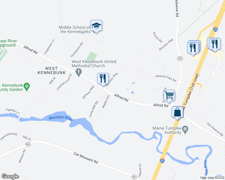 map of restaurants, bars, coffee shops, grocery stores, and more near 107 Alfred Road in Kennebunk
