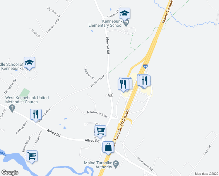 map of restaurants, bars, coffee shops, grocery stores, and more near 70 Alewive Road in Kennebunk