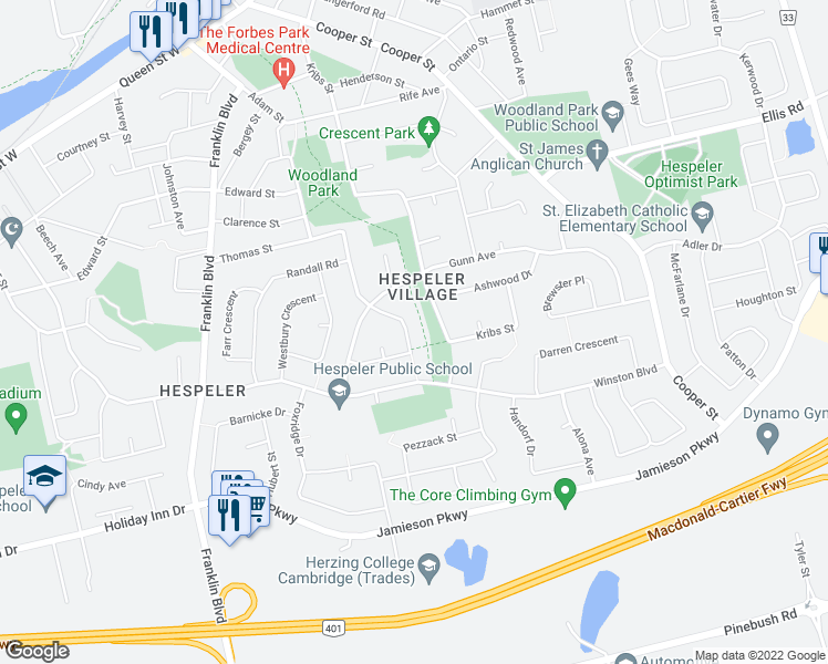 map of restaurants, bars, coffee shops, grocery stores, and more near 157 Erindale Crescent in Cambridge