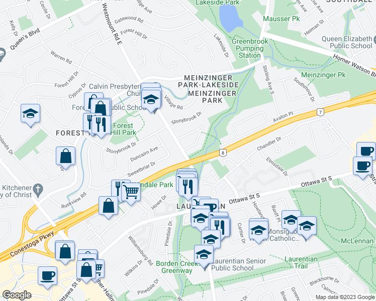 Map Of Lakeside Park Kitchener