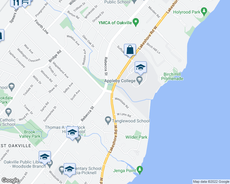 map of restaurants, bars, coffee shops, grocery stores, and more near 608 Lakeshore Road West in Oakville