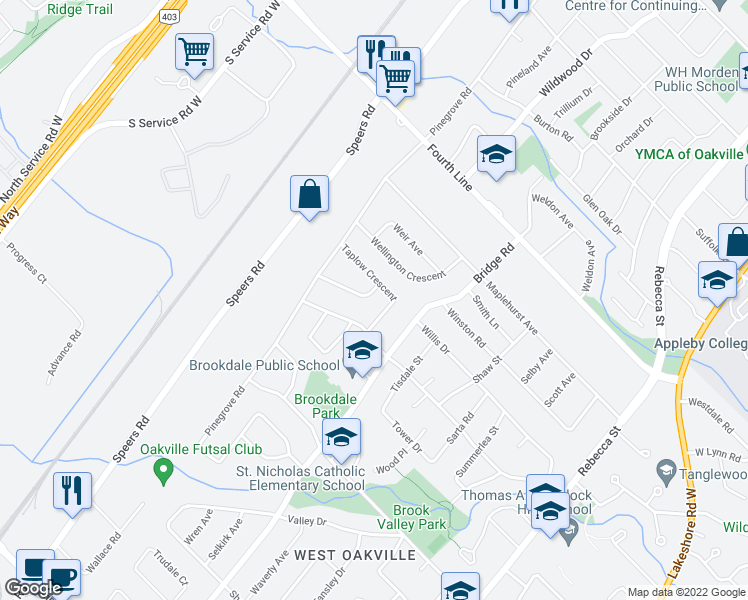 map of restaurants, bars, coffee shops, grocery stores, and more near 534 Wolsey Crescent in Oakville