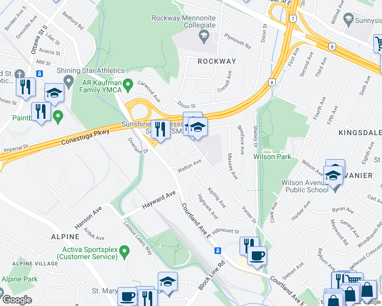 map of restaurants, bars, coffee shops, grocery stores, and more near 71 Vanier Drive in Kitchener