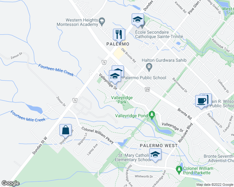 map of restaurants, bars, coffee shops, grocery stores, and more near 3086 Cardross Court in Oakville