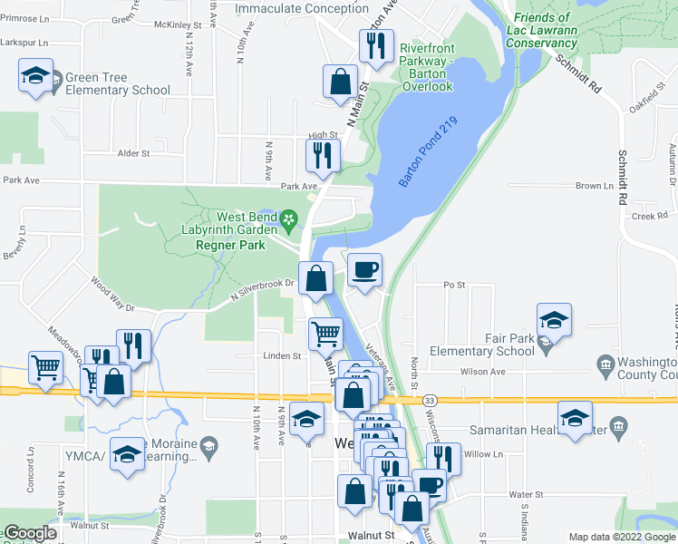 map of restaurants, bars, coffee shops, grocery stores, and more near 623-687 Rivershores Drive in West Bend