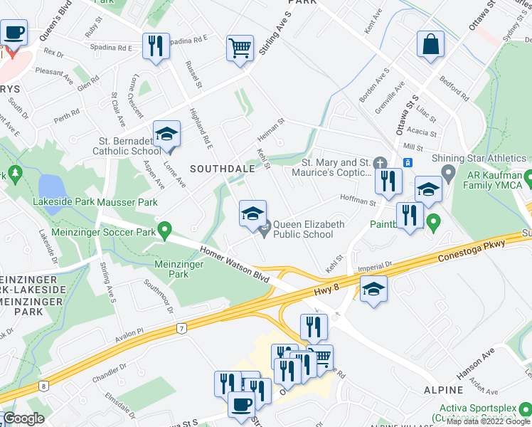 map of restaurants, bars, coffee shops, grocery stores, and more near 64 Southdale Avenue in Kitchener