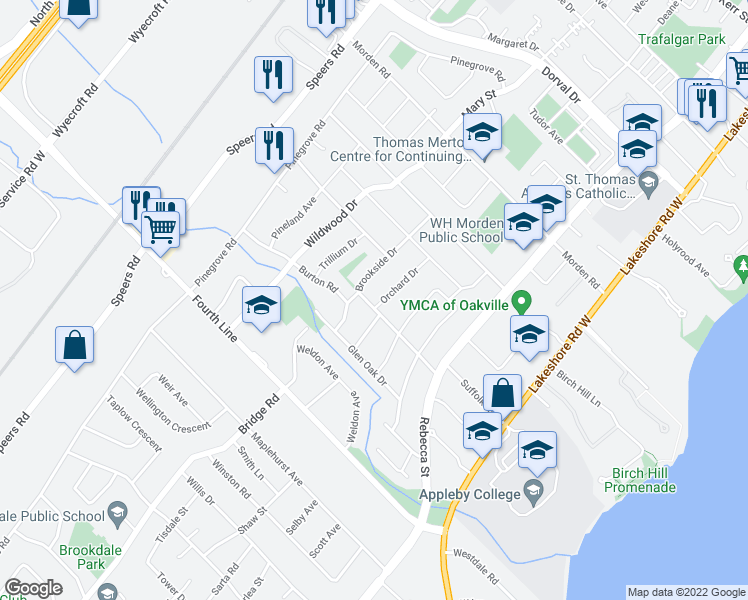 map of restaurants, bars, coffee shops, grocery stores, and more near 491 Orchard Drive in Oakville