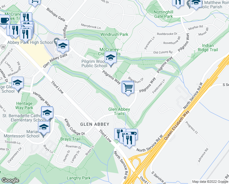 map of restaurants, bars, coffee shops, grocery stores, and more near 1492 Pilgrims Way in Oakville