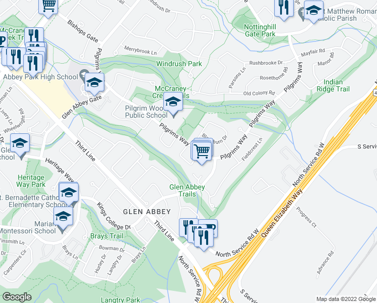 map of restaurants, bars, coffee shops, grocery stores, and more near 1514 Pilgrims Way in Oakville