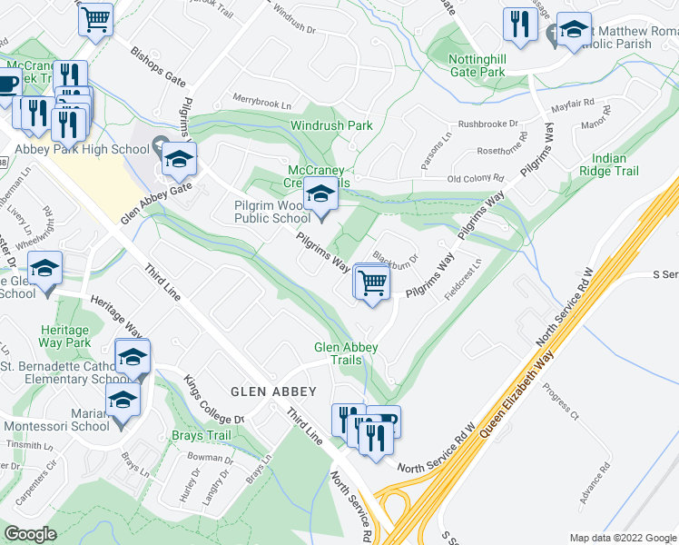 map of restaurants, bars, coffee shops, grocery stores, and more near 1502 Pilgrims Way in Oakville