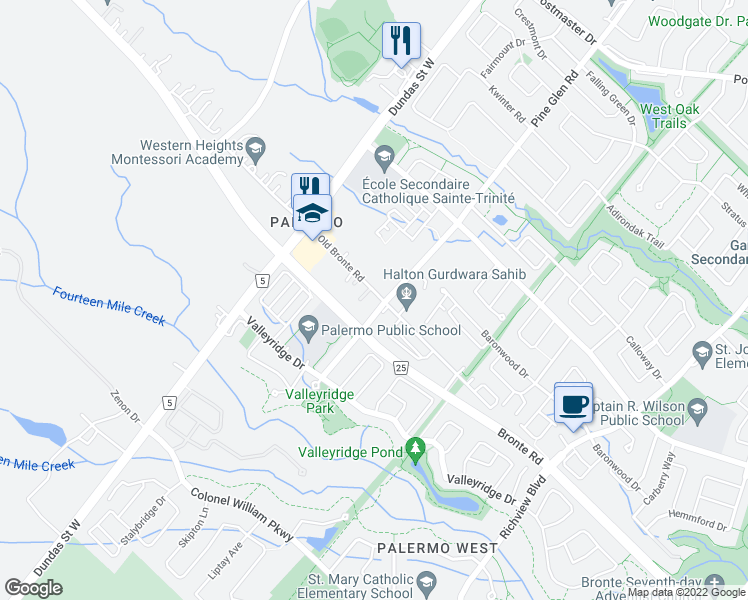 map of restaurants, bars, coffee shops, grocery stores, and more near 2451 Old Bronte Road in Oakville