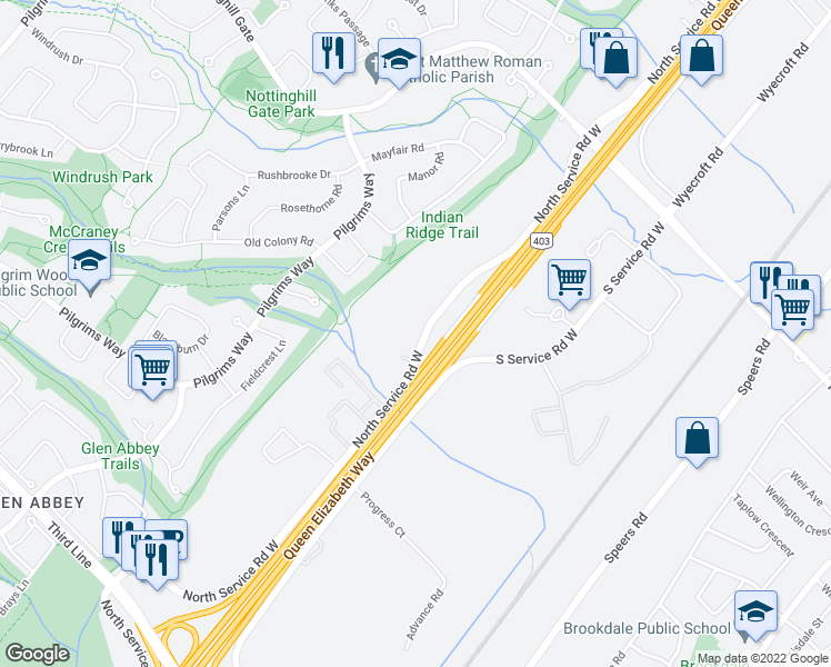map of restaurants, bars, coffee shops, grocery stores, and more near 1215 North Service Road West in Oakville