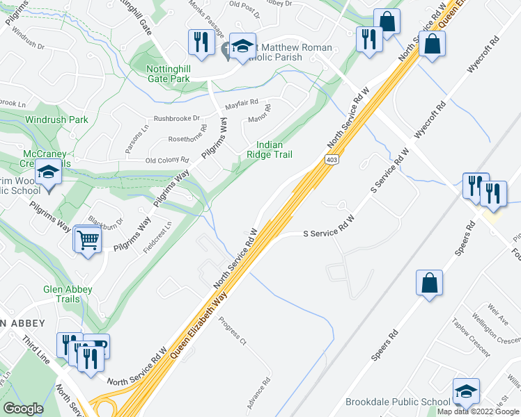 map of restaurants, bars, coffee shops, grocery stores, and more near 1215 North Service Rd W in Oakville