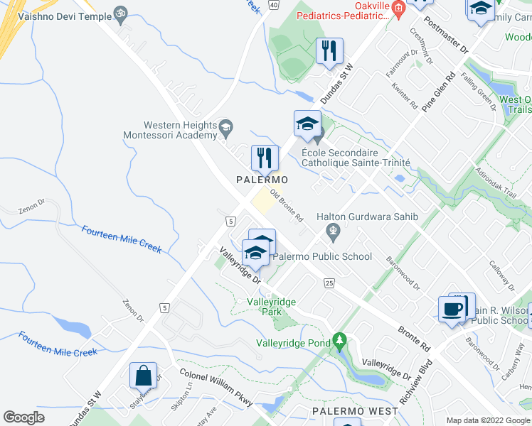 map of restaurants, bars, coffee shops, grocery stores, and more near 2490 Old Bronte Road in Oakville