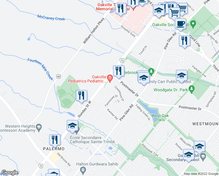 map of restaurants, bars, coffee shops, grocery stores, and more near 2478 Adamvale Crescent in Oakville