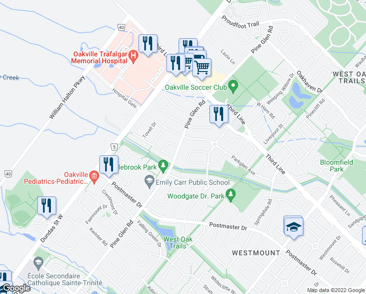 map of restaurants, bars, coffee shops, grocery stores, and more near 2120 Pine Glen Road in Oakville