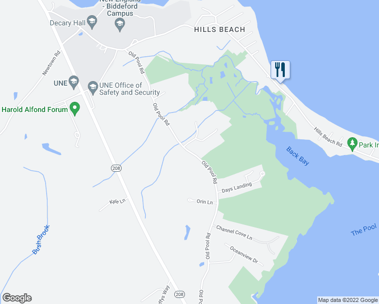 map of restaurants, bars, coffee shops, grocery stores, and more near Old Pool Road in Biddeford