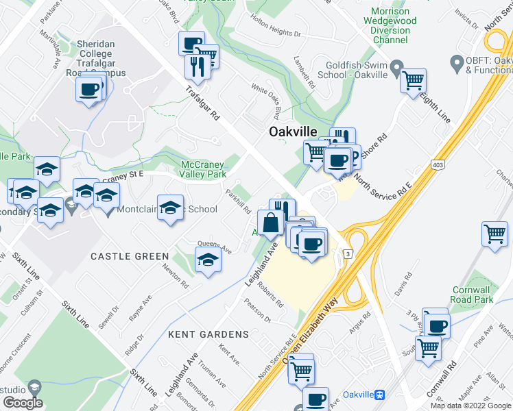 map of restaurants, bars, coffee shops, grocery stores, and more near 1071 Queens Avenue in Oakville