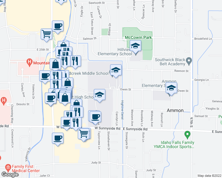 map of restaurants, bars, coffee shops, grocery stores, and more near 2800 Owen Street in Ammon