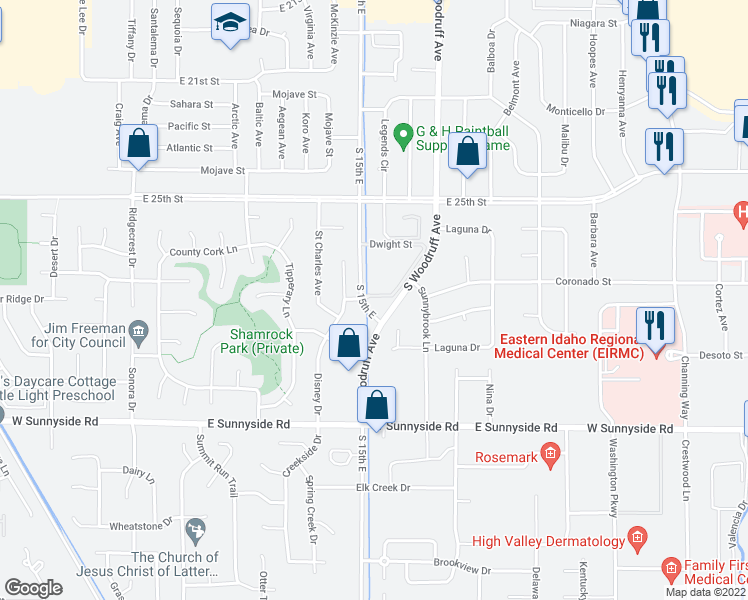 map of restaurants, bars, coffee shops, grocery stores, and more near 2775 Saint Clair Avenue in Idaho Falls
