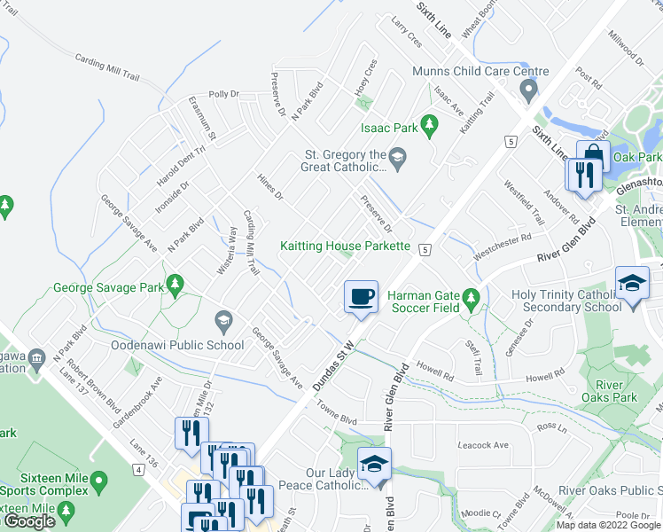 map of restaurants, bars, coffee shops, grocery stores, and more near Jemima Drive in Oakville