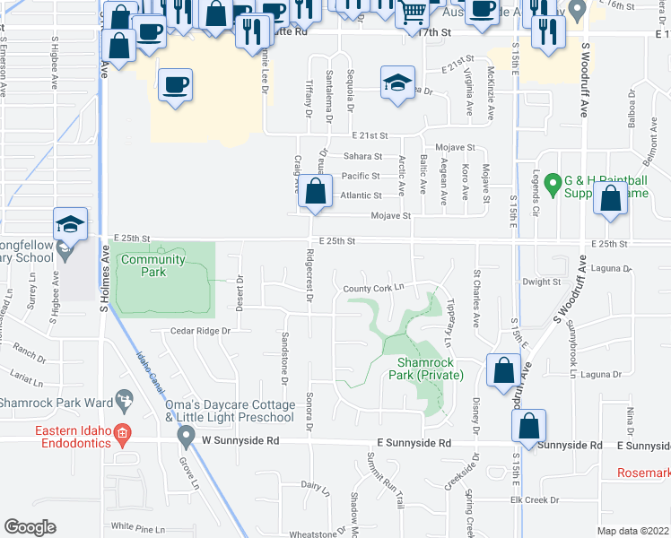 map of restaurants, bars, coffee shops, grocery stores, and more near 2600 Cavan Circle in Idaho Falls