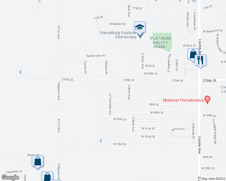 map of restaurants, bars, coffee shops, grocery stores, and more near 7836 South Townsley Avenue in Sioux Falls