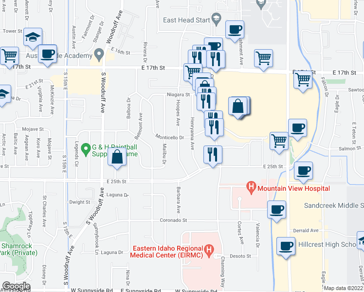 map of restaurants, bars, coffee shops, grocery stores, and more near 2249 Hoopes Avenue in Idaho Falls