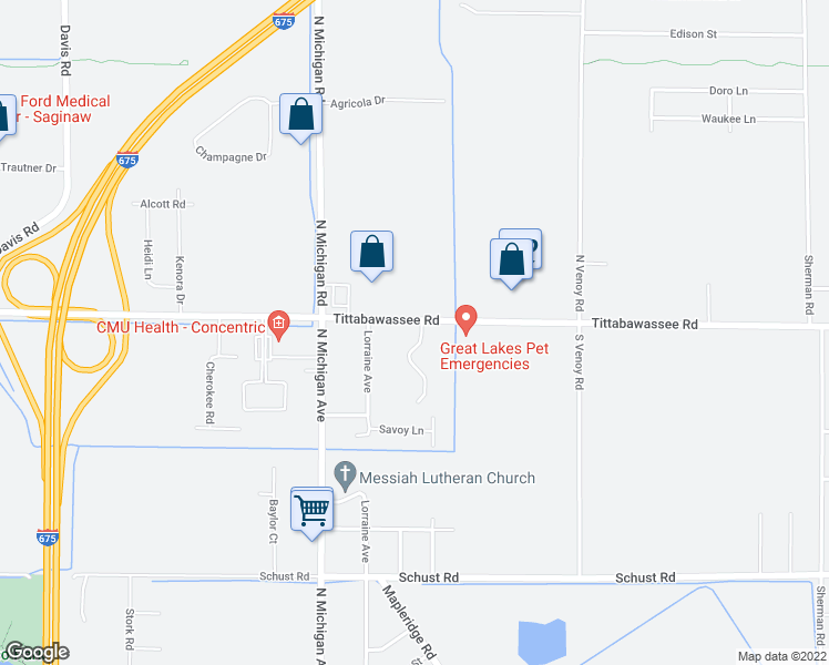 map of restaurants, bars, coffee shops, grocery stores, and more near 1307 Tittabawassee Road in Saginaw