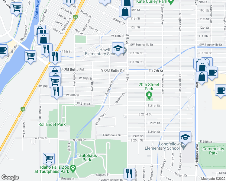 map of restaurants, bars, coffee shops, grocery stores, and more near 185 West 19th Street in Idaho Falls