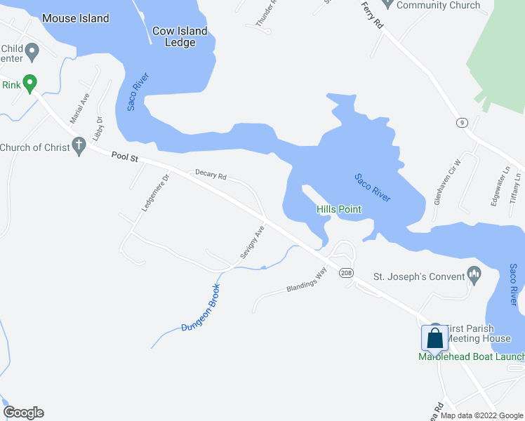 map of restaurants, bars, coffee shops, grocery stores, and more near 6 Decary Road in Biddeford